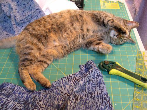 Jasmine helps cut strips